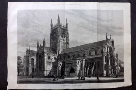 ILN 1880 LG Antique Print. Worcester Cathedral